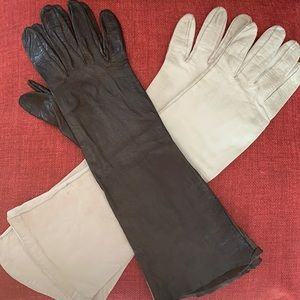 "Vintage kidskin long cream & brown 13"" gloves"